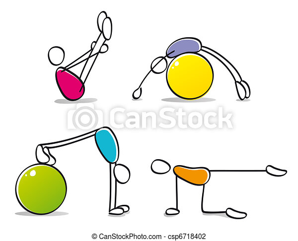 funny persons practicing pilates - csp6718402