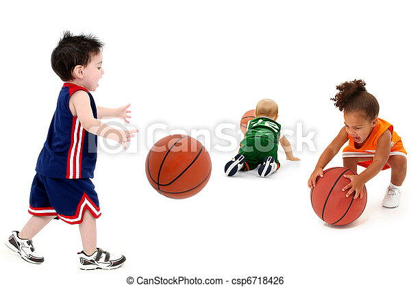 Rival Toddler Teams with Basketballs in Uniform - csp6718426