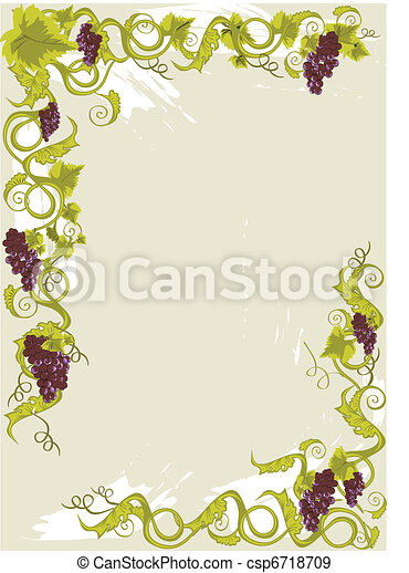 Grapes menu card with vines with leaves. - csp6718709