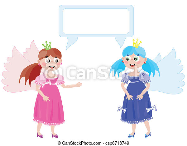 Dialog of the two young  girls - csp6718749