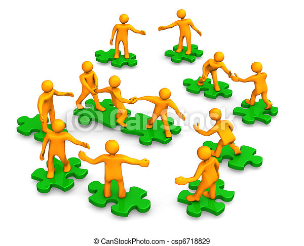 Teamwork Business Company Green Puzzle - csp6718829