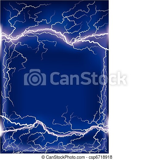 Lightning strike on dark blue frame background .Mesh - csp6718918