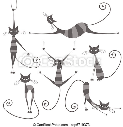 Graceful grey striped cats for your design  - csp6719373