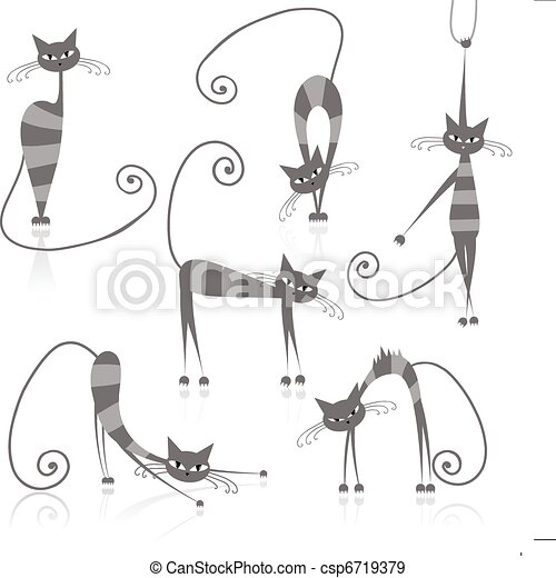 Graceful grey striped cats for your design - csp6719379