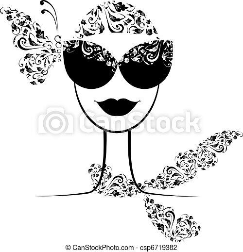 Female fashion silhouette with sunglasses your design  - csp6719382