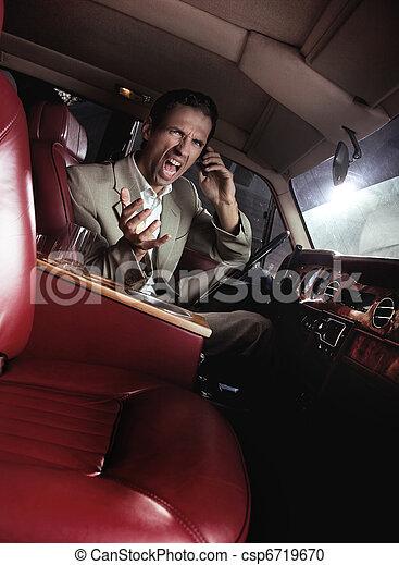 Screaming man in the car - csp6719670