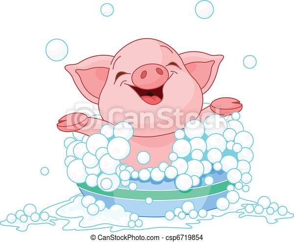 Piglet taking a bath - csp6719854