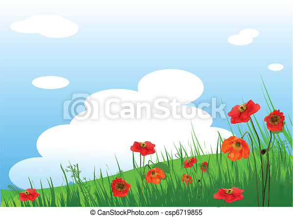 Poppies Meadow  background - csp6719855