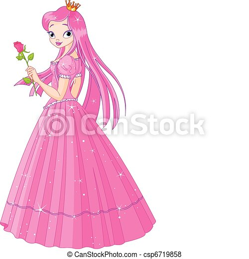 Beautiful princess with rose - csp6719858