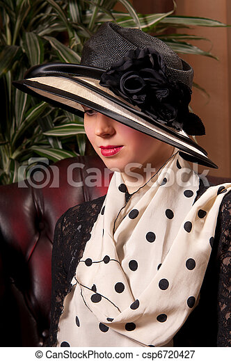 attractive woman with a beautiful headdress - csp6720427