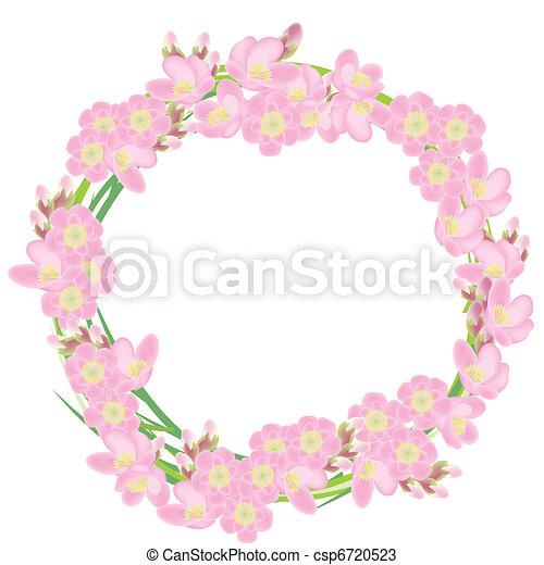 illustration rose cerise fleurs fait couronne