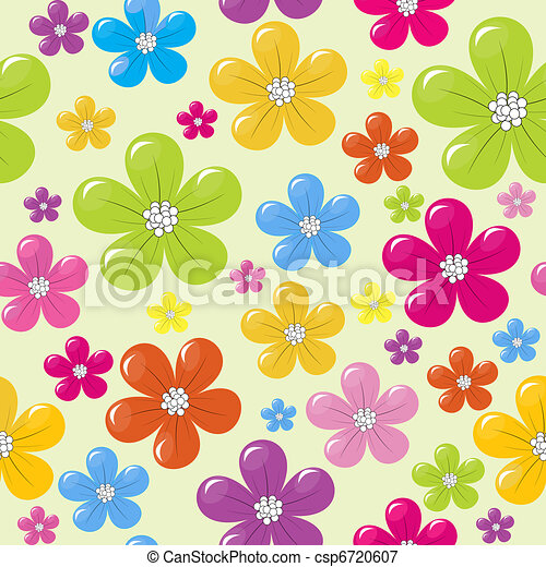 Seamless pattern with colored flowers - csp6720607