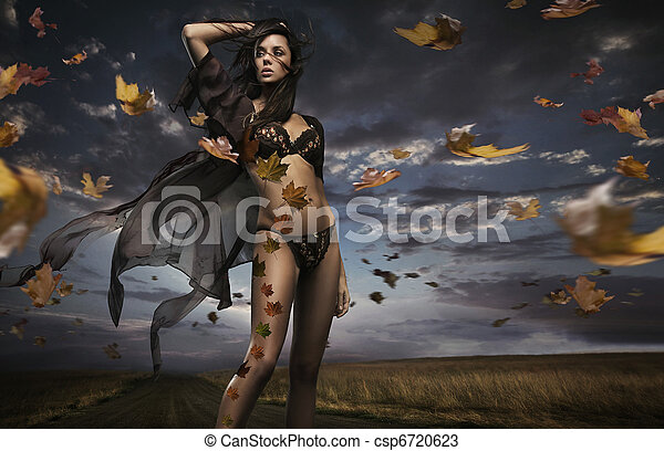 Beauty brunette in the windy weather - csp6720623