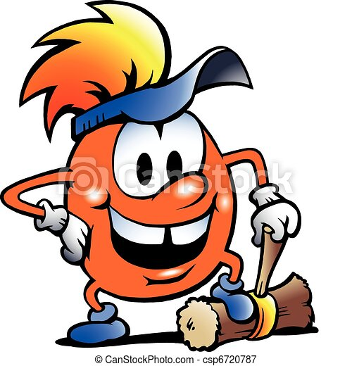 Orange Gobling with a big hammer - csp6720787