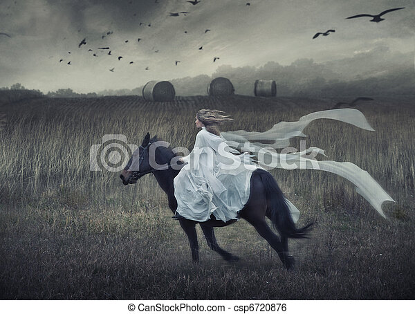 Romantic young beauty riding a horse - csp6720876