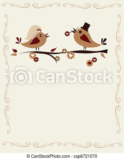 married birds on a branch, invitation template - csp6721070