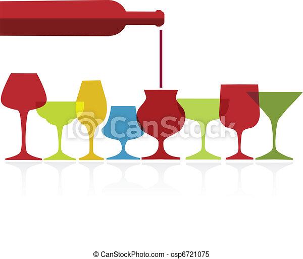 pour of wine into wine colorfull glasses - csp6721075