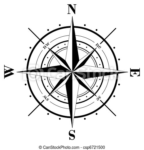 Vector Clipart of Compass Rose - Black compass rose isolated on whte ...