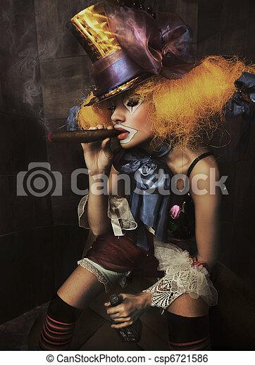 Fine art photo of a bad clown - csp6721586