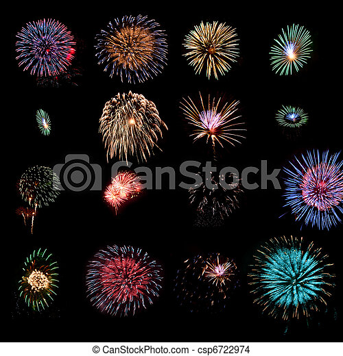 Sixteen fireworks design elements - csp6722974