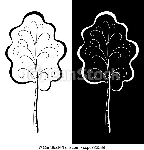 Birch, pictogram, black and white - csp6723539