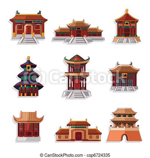Clipart vektor von satz chinesisches haus karikatur for Traditionelles chinesisches haus