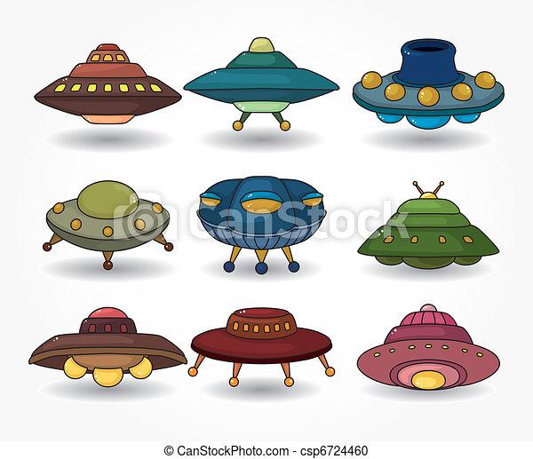 cartoon ufo spaceship icon set  - csp6724460