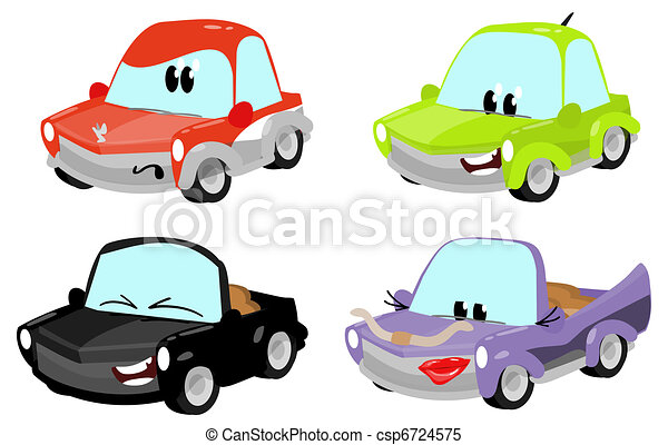 cute cartoon car characters  - csp6724575