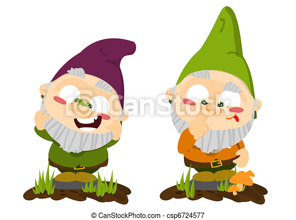 Cute cartoon lawn gnomes - csp6724577