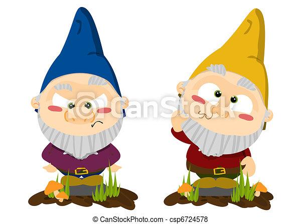 Cute cartoon lawn gnomes - csp6724578