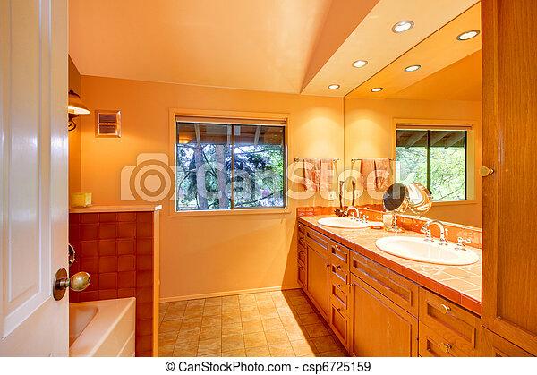 Bathroom with orange yellow tones