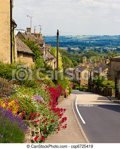 Cotswolds village Bourton-on-the-Hill with flowers, UK - csp6725419