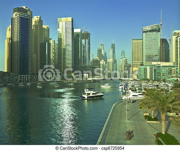 Town scape at summer. Dubai Marina. - csp6725954