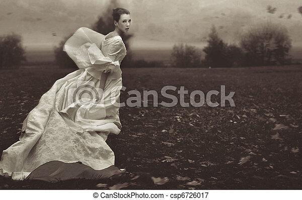 婦女, 自然, 在上方, 跑, 黑色, 背景, 白色 - csp6726017