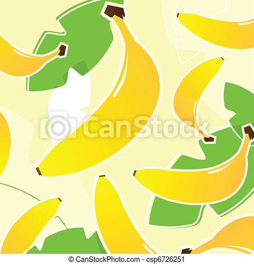 Banana: Fresh tropical fruit texture or pattern ( yellow and gre - csp6726251