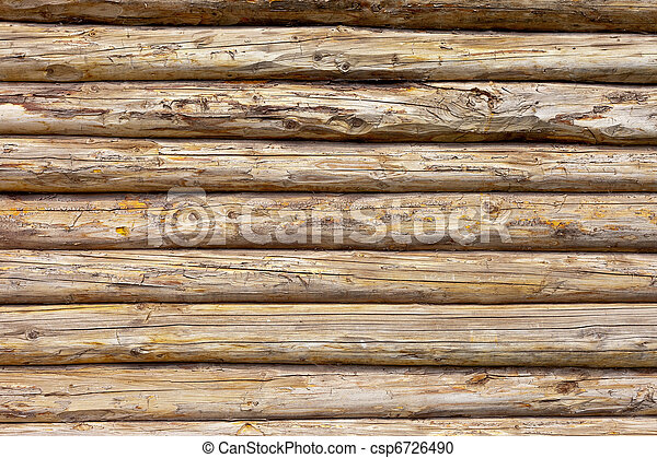 Wooden logs wall of rural house background - csp6726490
