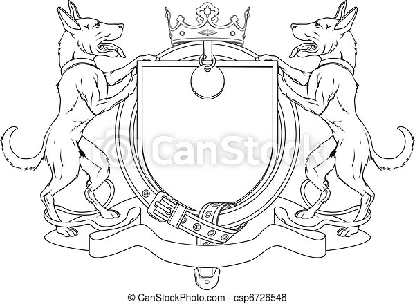Dog pets heraldic shield coat of arms - csp6726548