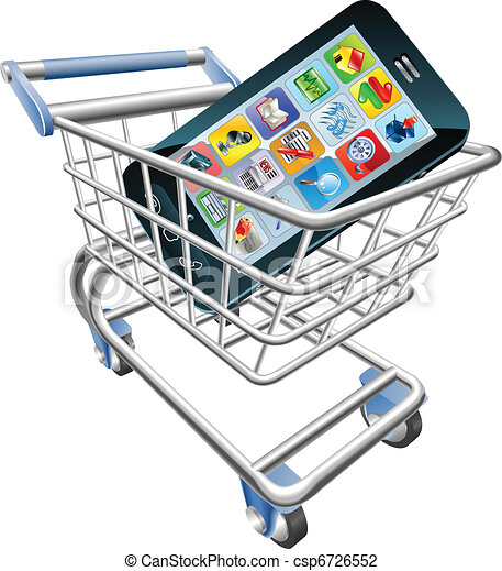 Smart phone shopping cart concept - csp6726552