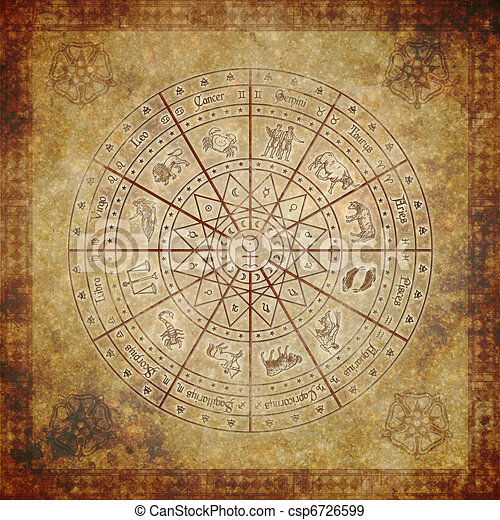 Zodiac circle on very old paper - csp6726599