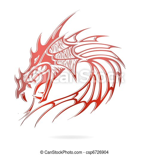 asia dragon and flames sign red color - csp6726904