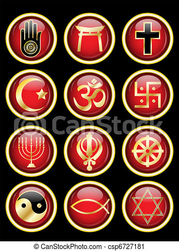 Religious symbols glossy web buttons - csp6727181