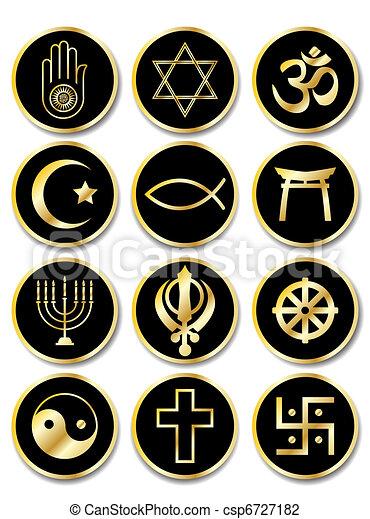 Religious symbols stickers gold on black - csp6727182