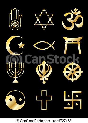 Religious symbols gold on black - csp6727183
