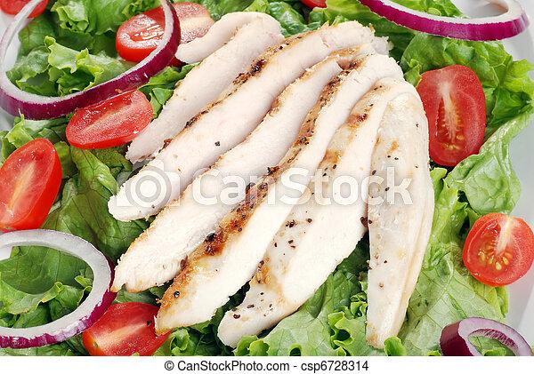 top view grilled chicken salad - csp6728314