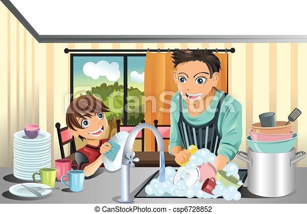 Father and son washing dishes - csp6728852