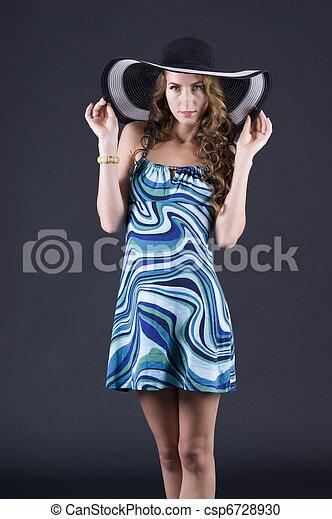 Beautiful young woman in black soiled - csp6728930