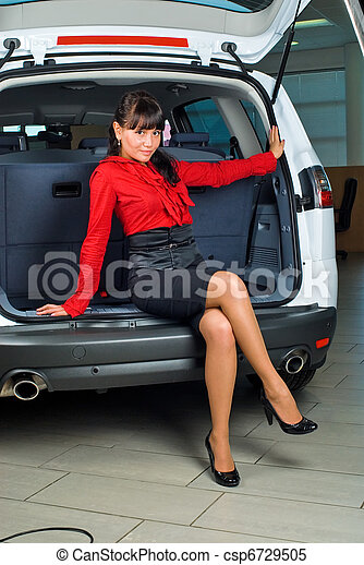 Woman in luggage compartment - csp6729505