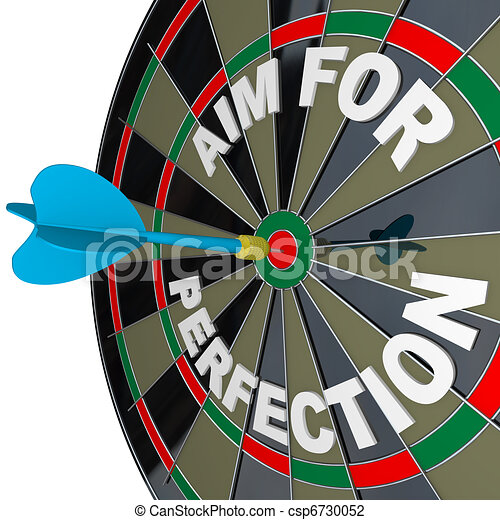 Aim for Perfection - Dart Hits Target Bulls-Eye on Dartboard - csp6730052