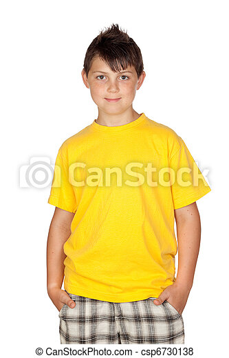 Funny child with yellow t-shirt - csp6730138