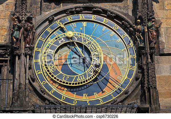 Astronomical clock on Town hall, Prague - csp6730226